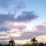 A wide-shot from the cemetery of the sunset from Mactan.
